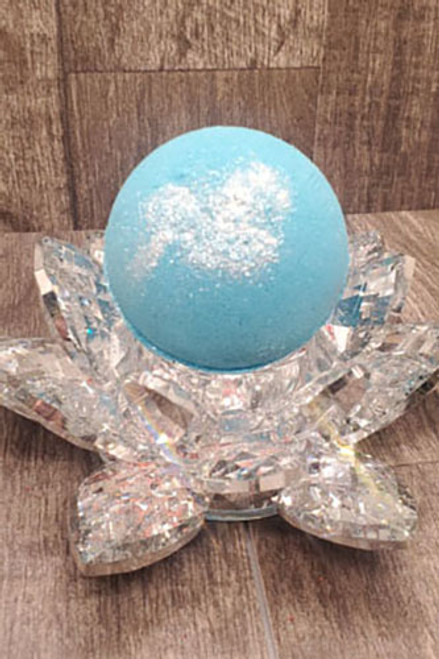 Corsica, cbd infused bath bomb. Blue and white shimmer.