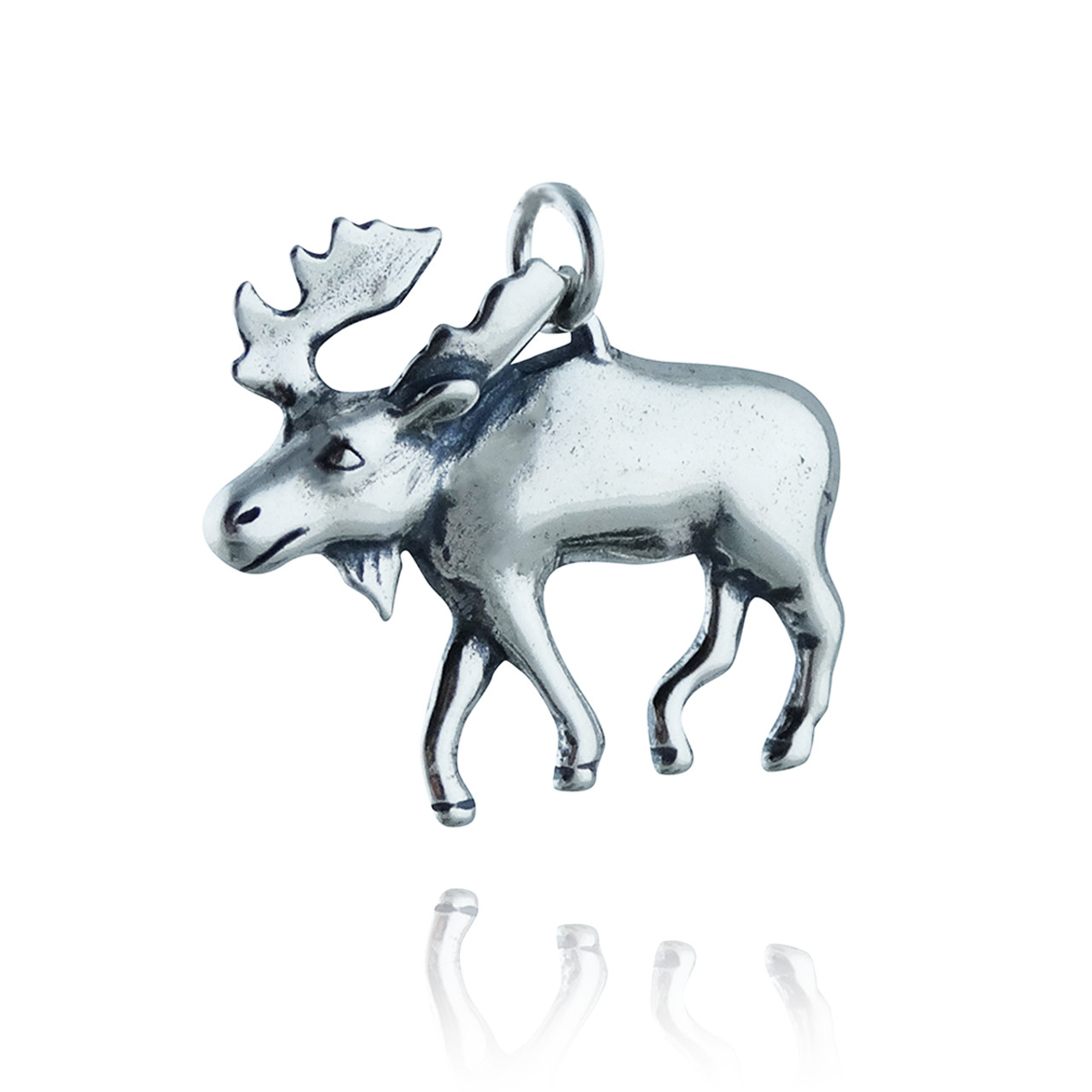 Sterling Silver 3D Large Detailed Moose Head With Antlers Charm