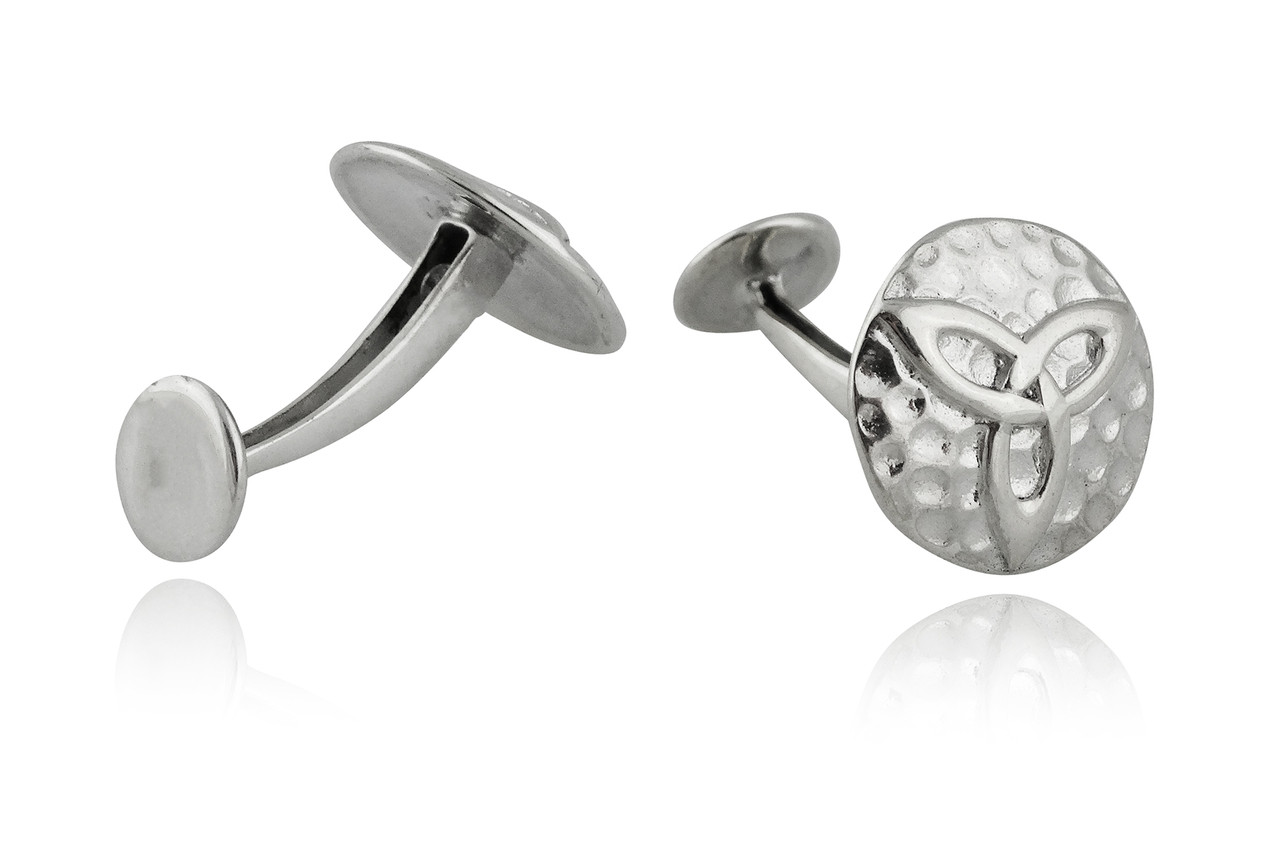 a4a74dea9610 Sterling Silver Hammered Celtic Trinity Knot Cuff Links | REO Company