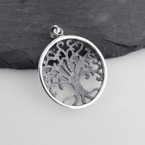 Tree of Life Necklace Round Cutout Filigree Family Gift 925 Sterling Silver