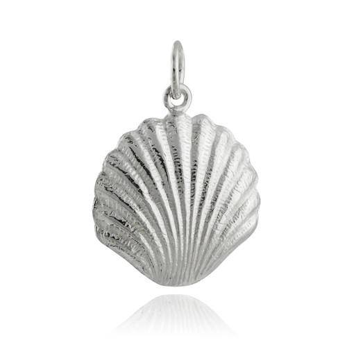 Clam Shell Charm - 925 Sterling Silver - Shell Pendant Pearl
