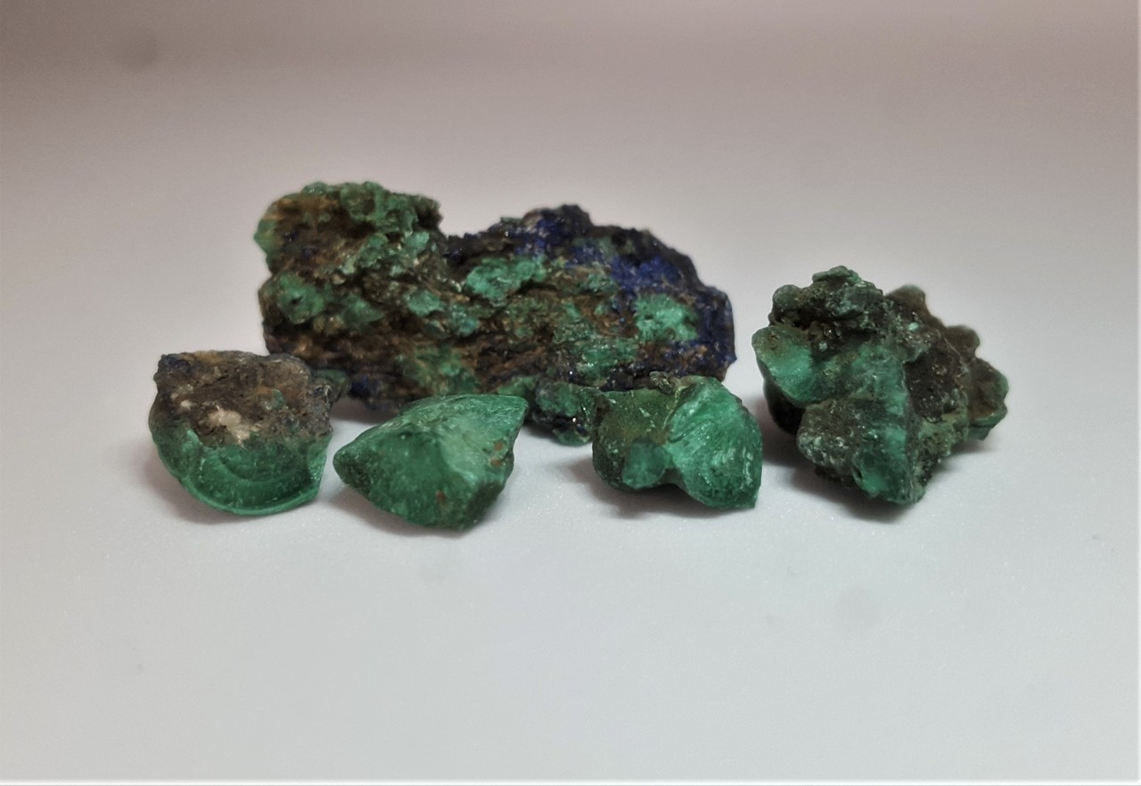 Malachite from Tynagh Mine, 5 small