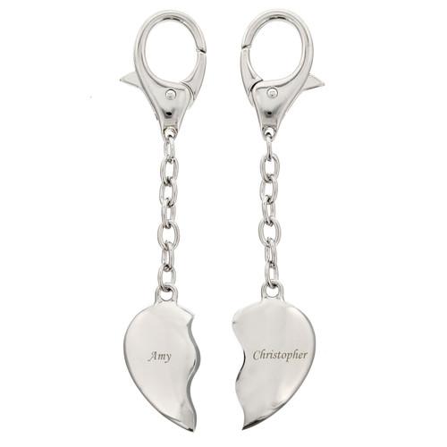 Personalised Engraved Pair of Split Heart Keyrings