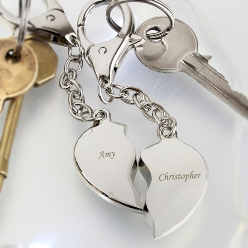 Personalised Engraved Pair of Split Heart Keyrings