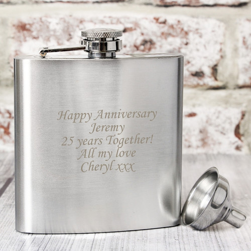 Personalised Engraved Stainless Steel Hip Flask
