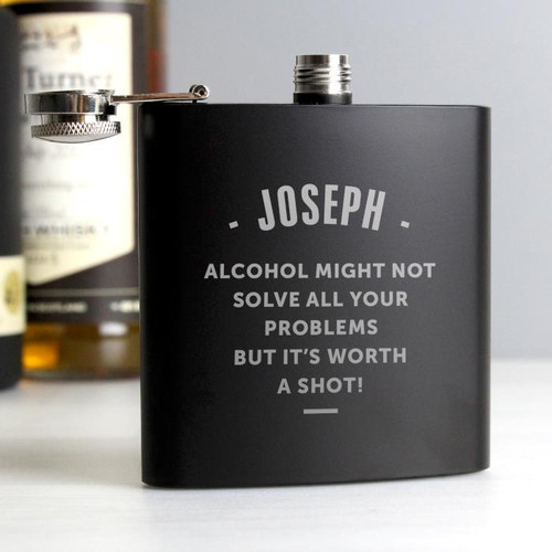 Personalised Luxury Any Message Black Hip Flask