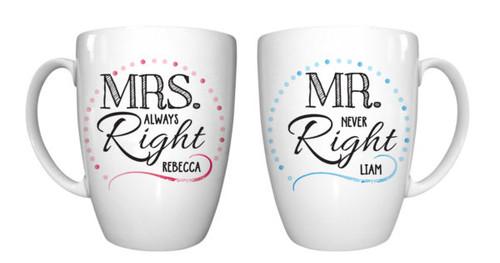 Mr & Mrs Right Conical Mug Set