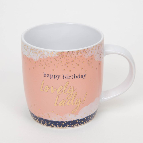 Happy Birthday Lovely Lady Rose Gold Foiled Stoneware Coffee Mug