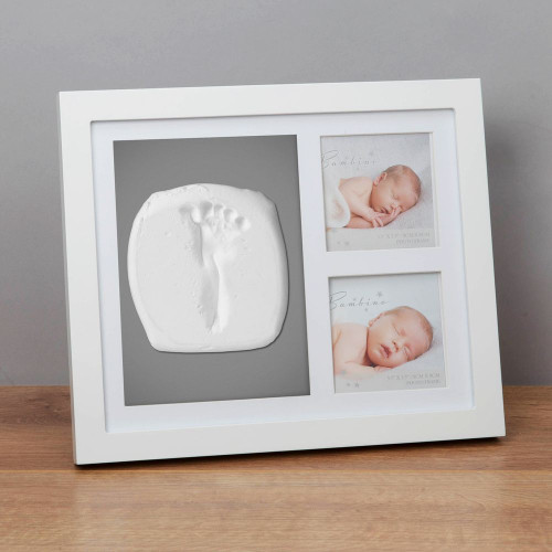 New Baby Double Photo Frame & Clay Hand or Foot Print Kit - 3.5'' X 3.5''