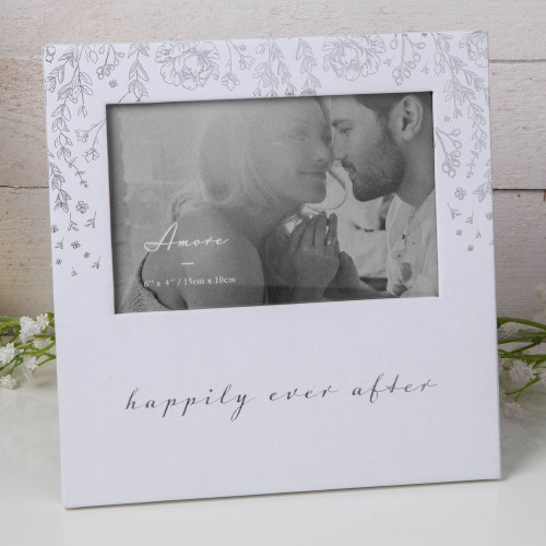Wedding Photo Frame White Luxury Foil Floral Embossed Happily Ever After Frame
