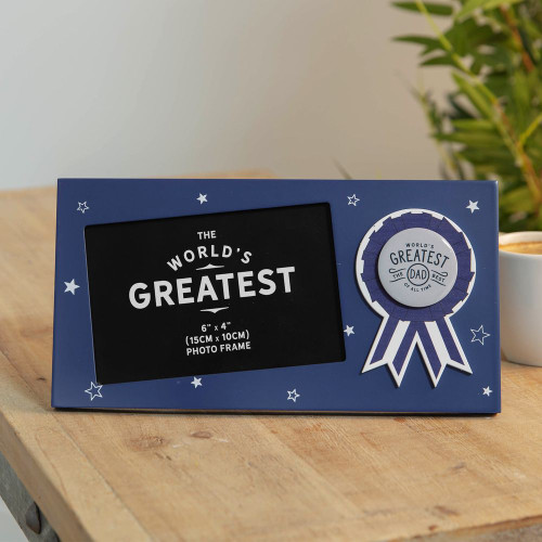 World's Greatest Dad Rosette Photo Frame