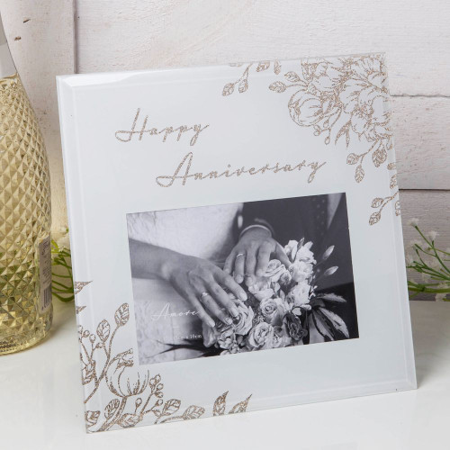 HAPPY ANNIVERSARY FRAME - GOLD & GREY