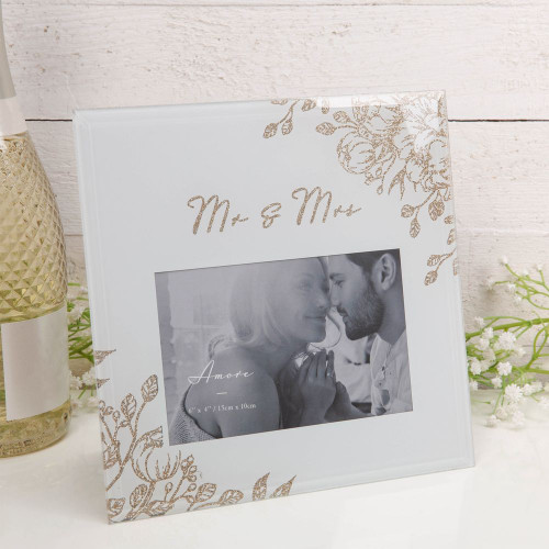 Mr & Mrs Pale Grey and Gold Floral frame