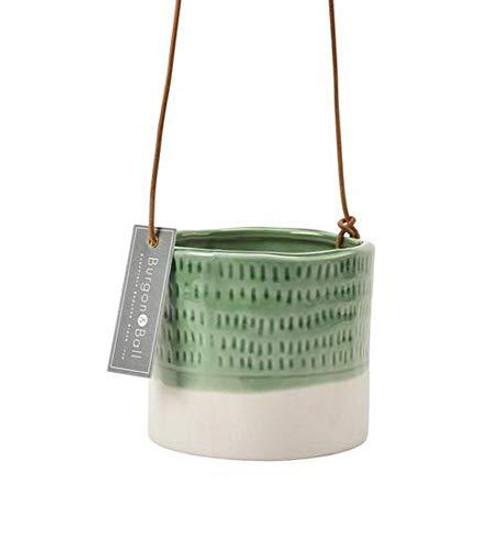 Burgon & Ball Glazed Hanging House Plant Pot in Pie Crust Design Green & White