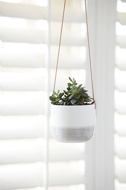 Burgon & Ball Glazed Hanging House Plant Pot in Ripple Design Grey & White