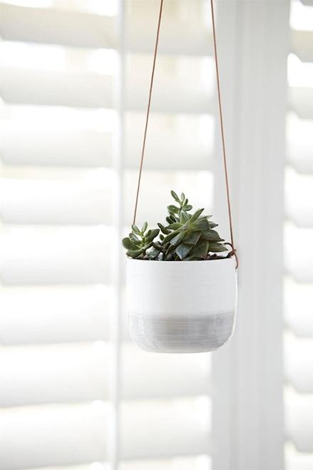 Burgon & Ball Glazed Hanging House Plant Pot in Ripple Design Grey & White