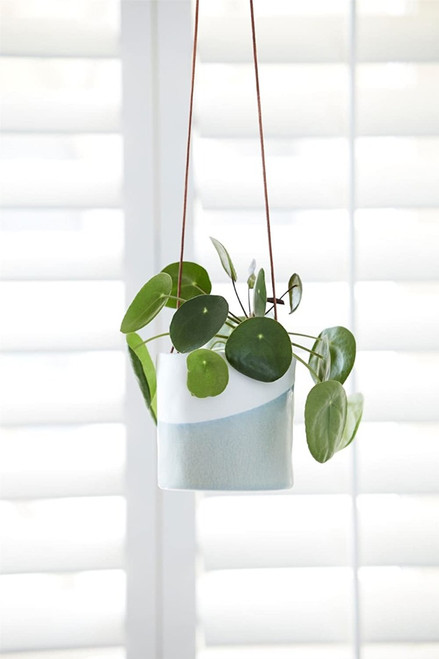 Burgon & Ball Glazed Hanging House Plant Pot in Dip Design Blue and White