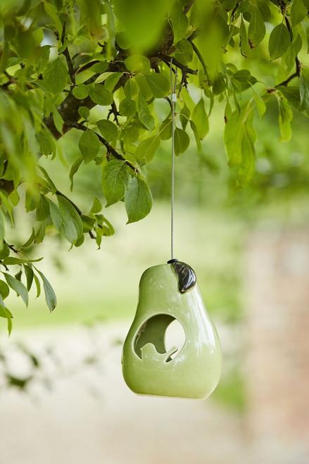 Burgon & Ball Ceramic Hanging Garden Pear Fat Ball Small Bird Feeder
