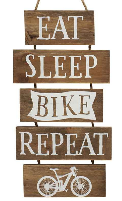 Eat Sleep Bike Repeat Wooden Hanging Multi Plaque