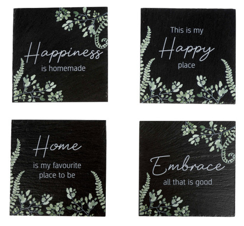 Set Of Four Leaf Print Coasters