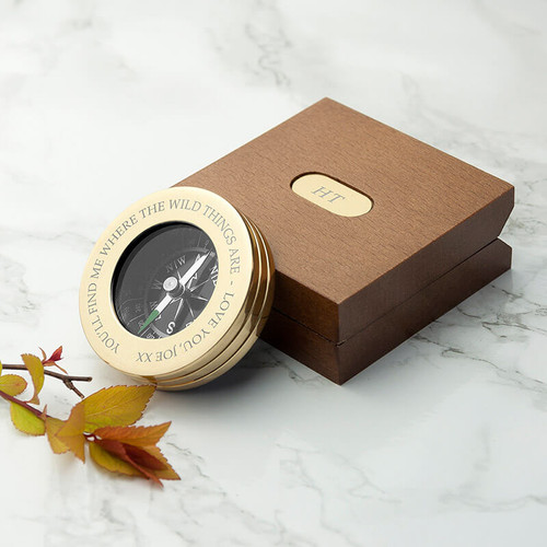 Personalised Brass Traveller's Compass With Wooden Box