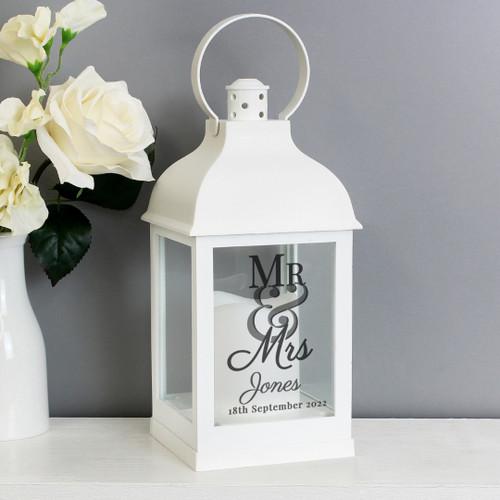 Personalised Mr & Mrs White Lantern