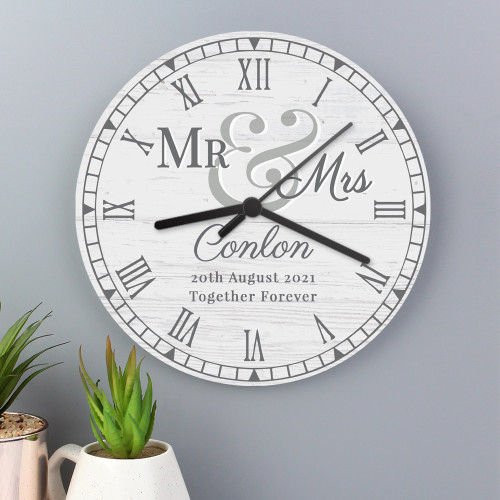 Personalised Mr & Mrs Wooden Clock