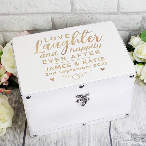 Personalised Love Laughter Keepsake Leather Box