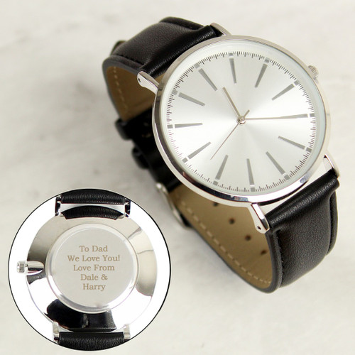 Personalised Silver Mens Watch with Black Leather Strap