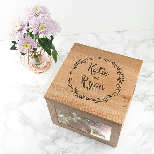 Personalised Couple's Oak Photo Keepsake Box With Wreath Design