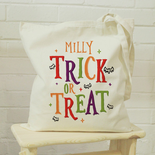 Personalised Cotton Reusable Halloween Trick Or Treat Goody Tote Bag