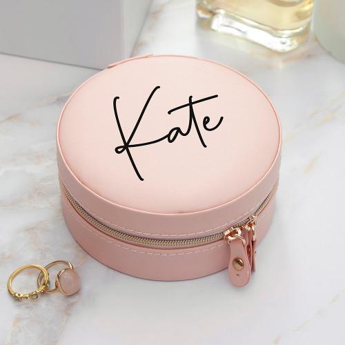 Personalised Blush Pink Round Jewellery Case