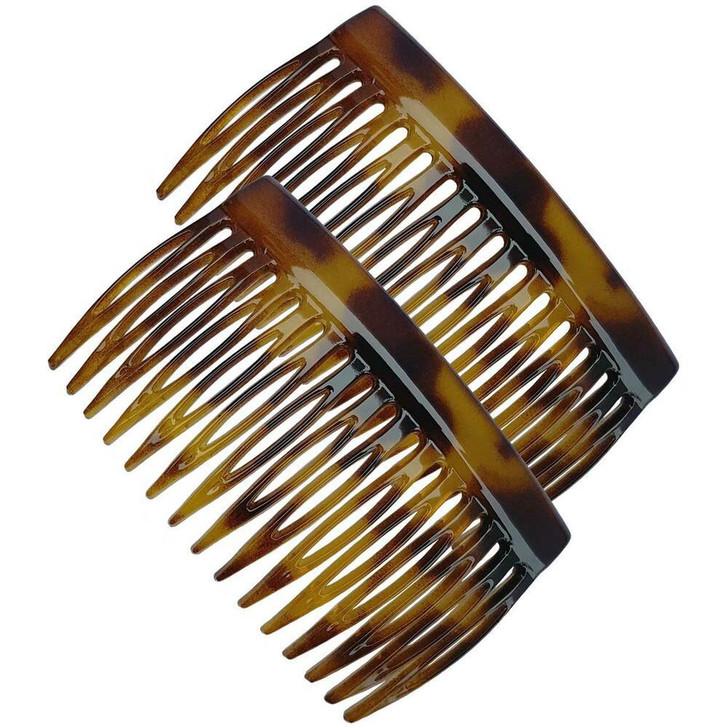 7cm French Side Hair Comb Light Tortoiseshell