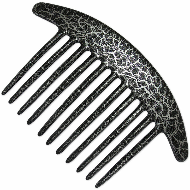 Black / Silver Pouillot design French Pleat Hair Comb for long thick and curly hair