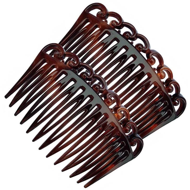 French Swirl Side Hair Combs 7cm - Pair (Tortoiseshell)