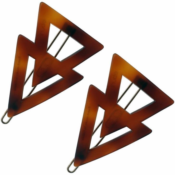 Twin Triangle Hair Clips handmade in France - Tortoiseshell