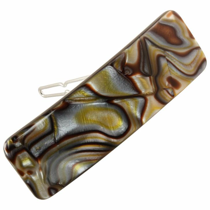 Handmade French Rectangle Hair Clip - Onyx