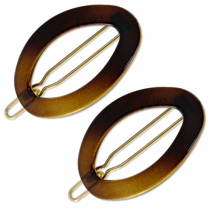 Small French Oval Hair Clips - Brown/Tortoiseshell