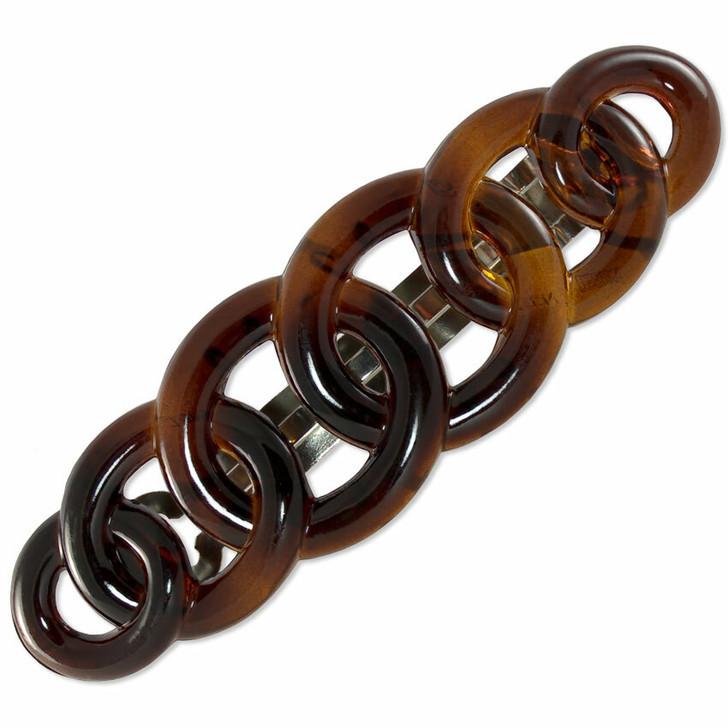 9cm French Rings Barrette - Tortoiseshell (Brown)