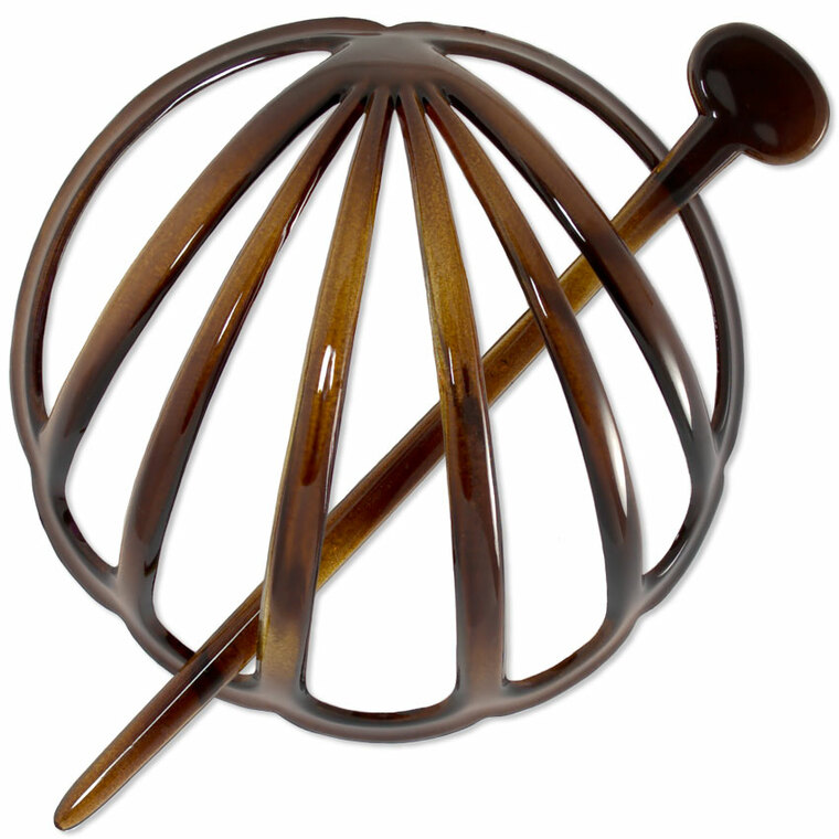 French Hair Bun Holder and Pin - Tortoiseshell (Brown)