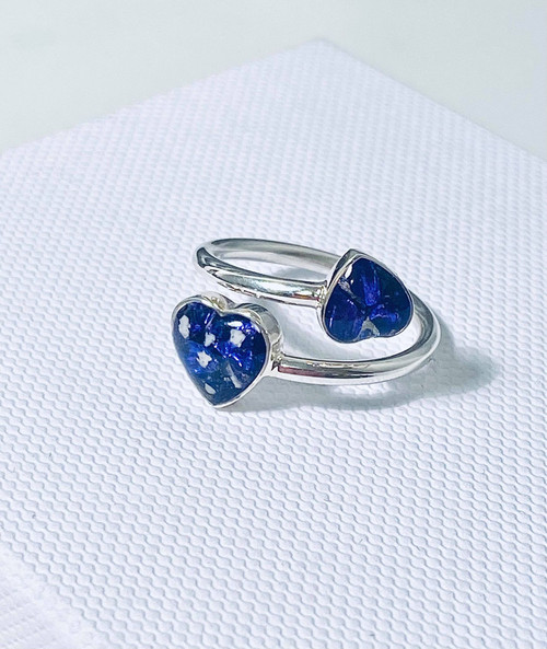 Two stone heart ashes ring.
