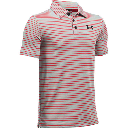 Under Armour Boys' Composite Stripe Polo - True Gray Heather/Red