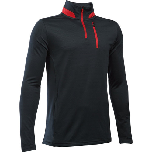 Under Armour Boys' Golf 1/4 Zip Pullover - Black/Red