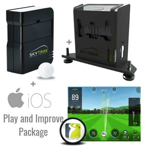 SkyTrak Golf Launch Monitor with Metal Case and Play and Improve Plan, which includes WGT golf courses