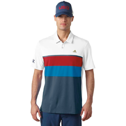 adidas Golf ClimaCool USA Engineered Stripe Polo - White/Mineral/Blue