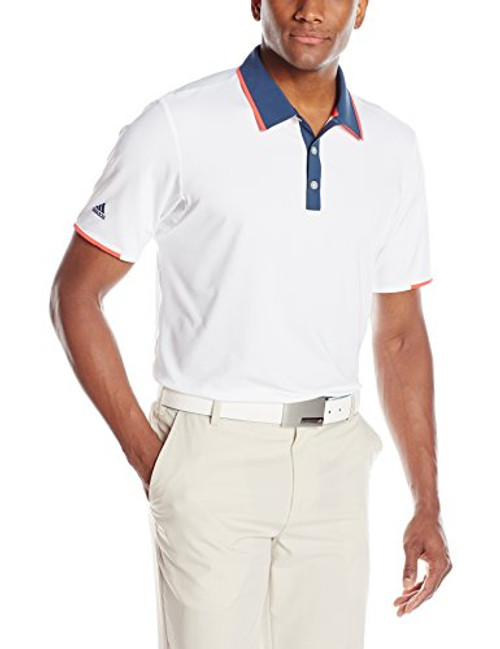 adidas Golf ClimaCool Tipped Polo Shirt (White/Mineral Blue)