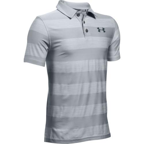 Under Armour Golf Boys' Playoff Stripe Polo - Overcast Gray/Stealth Gray