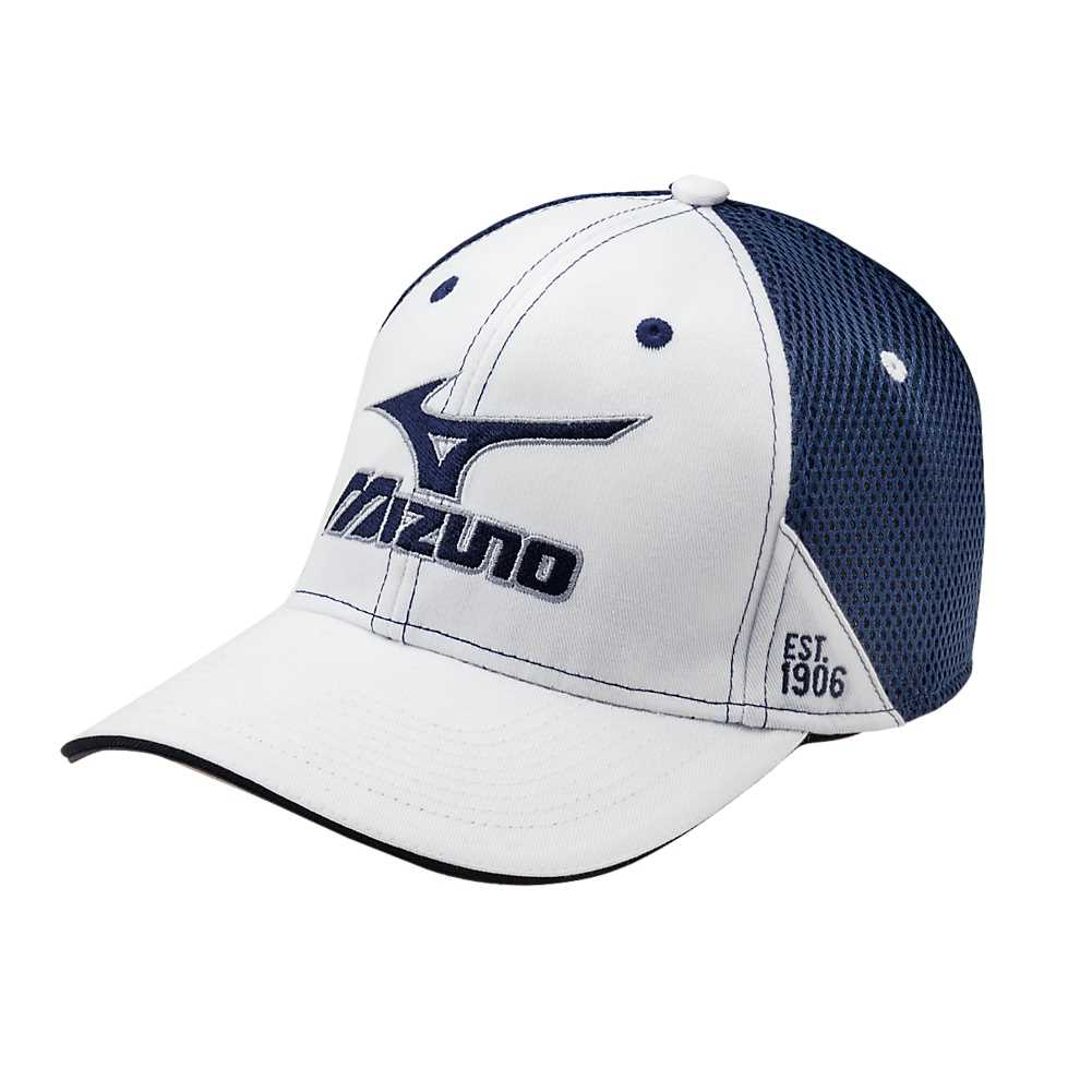 71b28088 Mizuno 1906 Fitted Golf Hat - White/Navy - L/XL