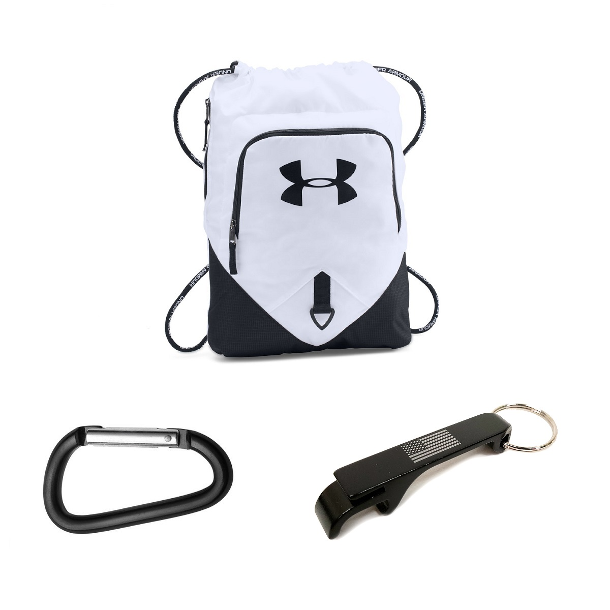 996ca493a6f Under Armour Undeniable Sackpack w/ USA Bottle Opener + Carabiner -  White/Black