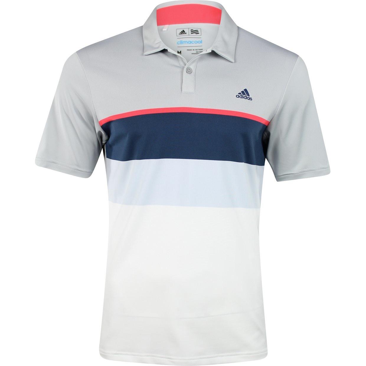 981579c64e9 adidas Golf ClimaCool Engineered Stripe Polo Shirt - Stone/Shock  Red/Mineral Blue